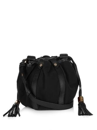 cross bag leather velvet black