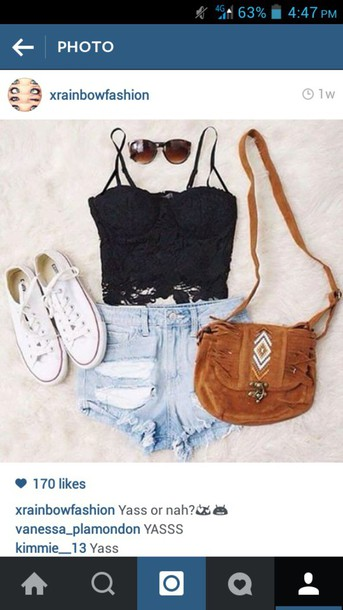 top summer top tank top bag shorts hippie hipster purse brown lace black lace top