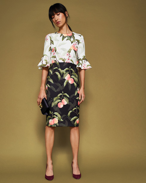 Ted Baker dress black peach