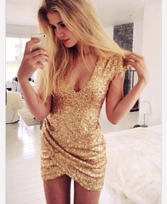 gold gold sequins sequin dress sequins style holiday dress