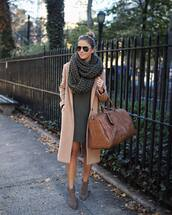 bag,handbag,faux leather,maxi bag,mini dress,ankle boots,coat,wool coat,knitted scarf,aviator sunglasses