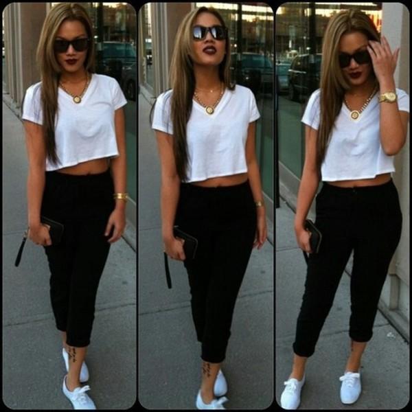 shirt crop tops leggings vans jewelry jewels gold sunglasses pants