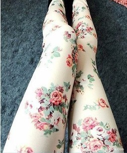 Rose floral leggings tights pant trousers [grhmf26000151] on luulla