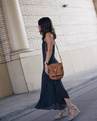 dress tumblr black dress maxi dress long dress slip dress bag brown bag sandals wedges wedge sandals shoes