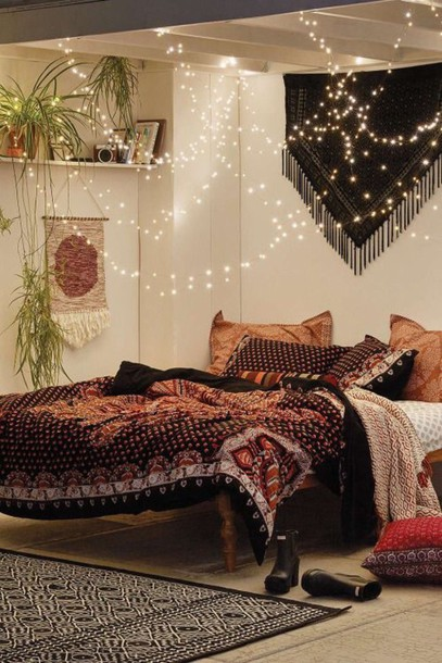 home accessory bedding lights love cute