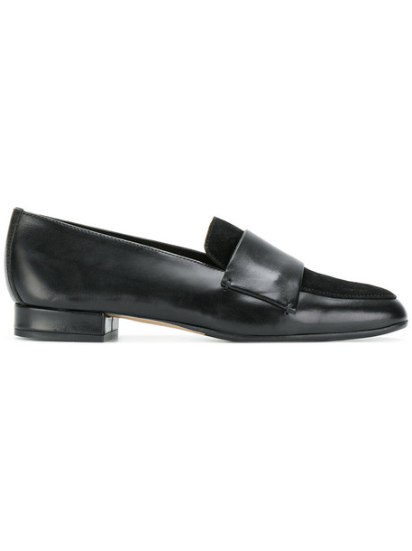 women loafers leather suede black shoes