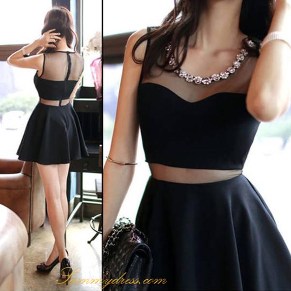dress little black dress black skaterdress