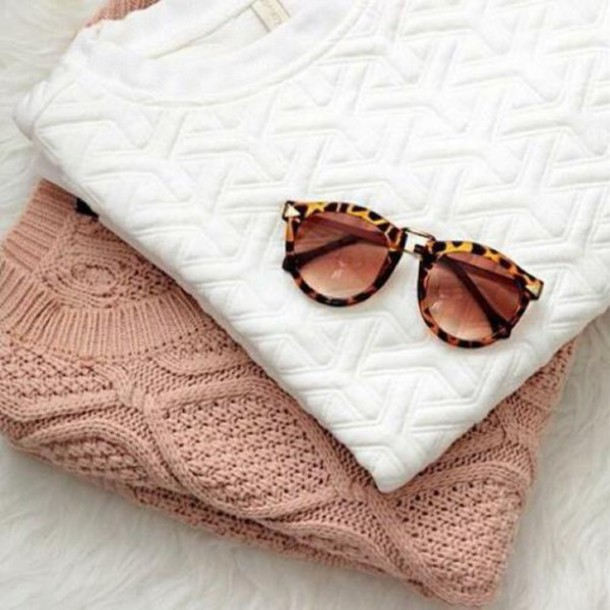 blouse white white blouse knitwear knitted sweater leopard print leopard sunglasses pink classy style stylish everyday wear casual dusty pink