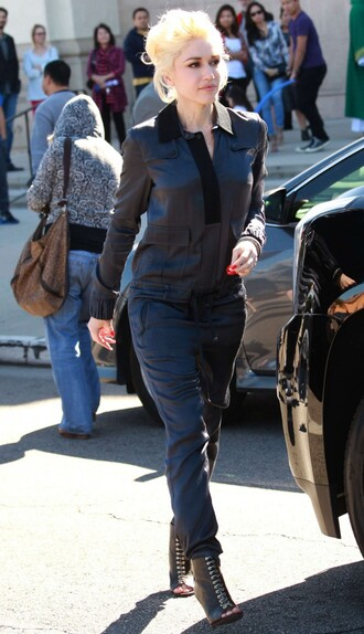 pants top leather booties gwen stefani all black everything shirt blouse shoes