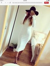 dress,cream dress,white dress,midi dress,long sleeves,bodycon dress,turtleneck dress,hair accessory
