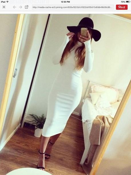 f0bab9fb8aae dress cream dress white dress midi dress long sleeves bodycon dress  turtleneck dress hair accessory