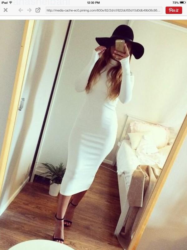 dress cream dress white dress midi dress long sleeves bodycon dress turtleneck dress hair accessory