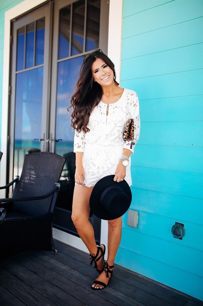 e0b33928b5ea thesweetestthing, blogger, romper, bag, hat, sunglasses, shoes ...