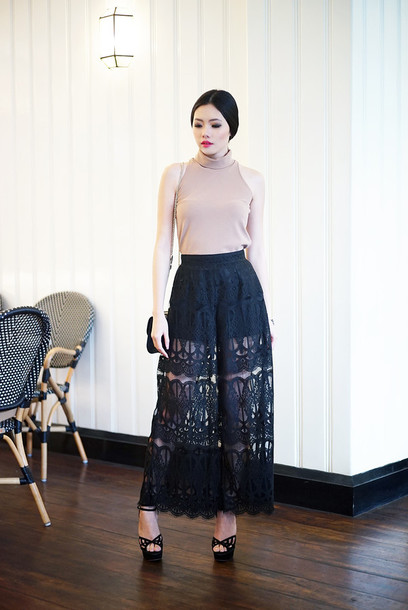 olivia lazuardy blogger top black skirt long skirt sleeveless pants shoes bag