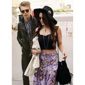 skirt,vanessa hudgens,maxi skirt,boho,hippie,indie,gypsy,nice,girly,sunglasses,bag,jewels,boyfriend,omfg,idc,idk