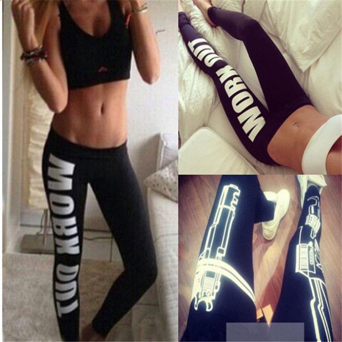 Fashion womens sexy machine gun/work out print black soft cotton leggings pants