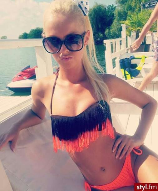 swimwear orange shredded bikini