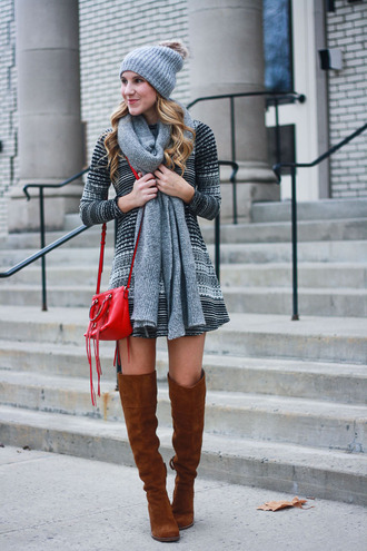 twenties girl style blogger sweater dress shoes scarf hat bag fall outfits sweater dress beanie red bag over the knee boots boots mini knit dress grey knit dress printed knit dress