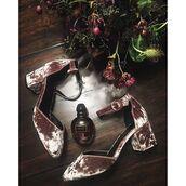 shoes,tumblr,velvet,velvet shoes,mid heel sandals,pink shoes,perfume,flowers