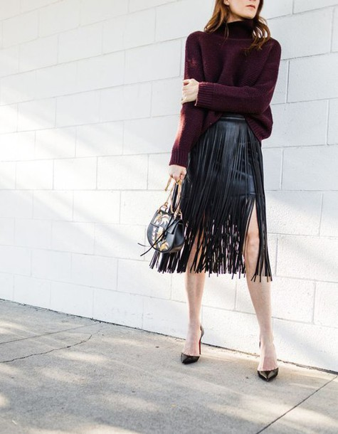skirt tumblr black skirt black leather skirt leather skirt fringes fringe skirt sweater burgundy burgundy sweater turtleneck turtleneck sweater pumps pointed toe pumps high heel pumps bag printed bag