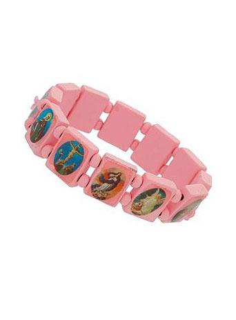Pink religious stretch bracelet