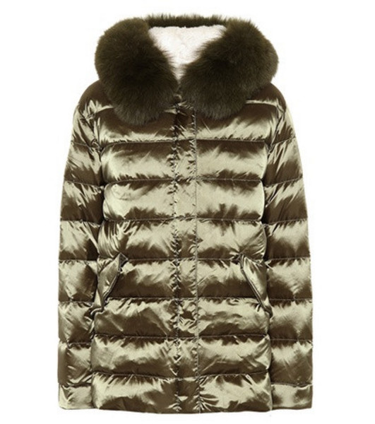 Yves Salomon - Army Fur-trimmed down jacket in green