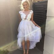 dress,white dress,flowers,white,high low dress,layered,layered dress,please help me find this dresss