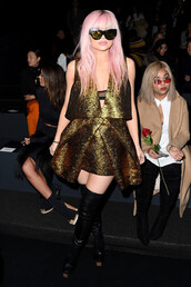 dress,kylie jenner,NY Fashion Week 2016,fashion week 2016,metallic,gold,mini dress,asymmetrical dress