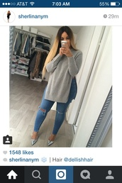 sweatshirt,grey sweater,slit,winter sweater,comfy,cute,ombre,hairstyles,blonde hair,ilikeit,ootd,slit jeans,silver heel,thick,beautiful,jeans,ombre hair