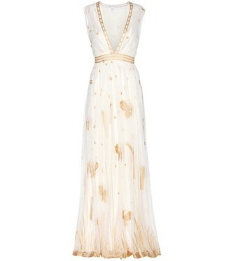gown embroidered white dress