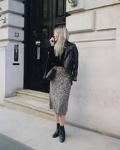 dress,midi dress,leopard print,wrap dress,booties,jumper,crossbody bag,leather jacket,biker jacket