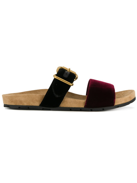 Prada women sandals flat sandals suede black velvet shoes