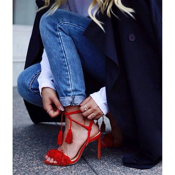 Brand AQUAZZURA Tassel Fringe Suede Women Sandals Lace Up