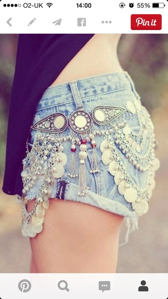 shorts denim shorts summer shorts style festival jewels embellished denim