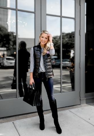 krystal schlegel blogger jacket t-shirt shoes jeans bag fall outfits vest handbag knee high boots