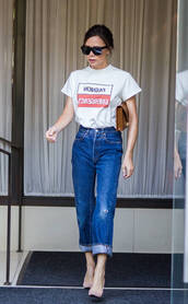 t-shirt,top,jeans,victoria beckham,streetstyle,nyfw 2017,ny fashion week 2017,pumps