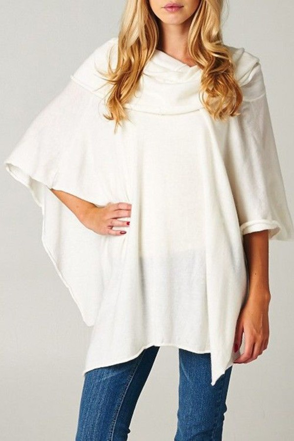 SLEEVELESS DRAPED NECKLINE SOFT WHITE WINTER SLOUCHY OVERSIZE ...