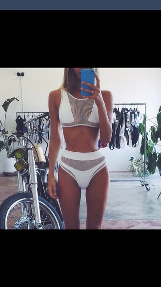 swimwear white bikini white crop tops bikinishoppty seethrough underwear