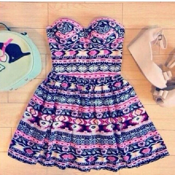 tribal pattern pink dress blue dress blackdress