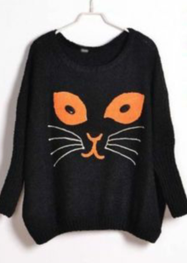 Shoes: halloween, cute sweaters, cats, cat sweater, black sweater ...