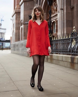 dress red dress shoes mini dress long sleeves long sleeve dress tights ballet flats flats