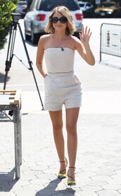 romper,strapless,bustier,sarah hyland,pumps,shorts,shoes