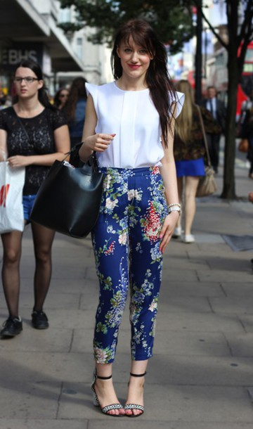 shoes printed sandals sandals sandal heels high heel sandals pants blue pants printed pants floral pants top white top sleeveless sleeveless top bag black bag spring outfits