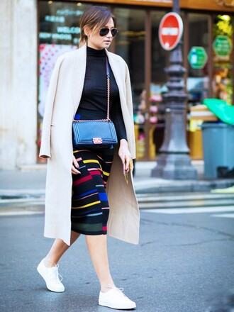 top ribbed top black top long sleeves coat long coat nude coat skirt midi skirt pencil skirt striped skirt multicolor bag black bag sneakers white sneakers fall outfits streetstyle sunglasses aviator sunglasses knitted skirt