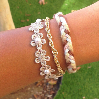 jewels flowers chain natural layered funny lovely bracelets braid braided