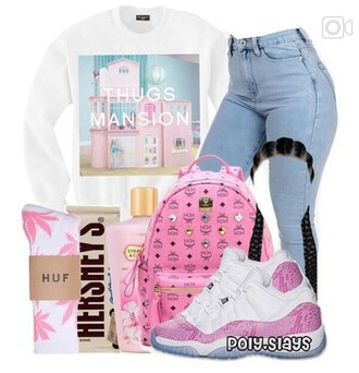 sweater pink mcm backpack thug life thugs mansion cookie and cream hershey light washed denim light blue jeans jordans strawberry and cream cute white huff socks with hot  pink weed leaves huf huff socks hershey white baby blue shoes