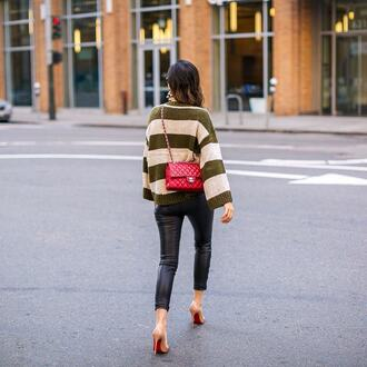 sweater tumblr knitwear knit stripes striped sweater pants black pants leather pants black leather pants pumps bag