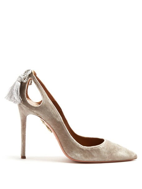 Aquazzura tassel forever pumps velvet light grey shoes