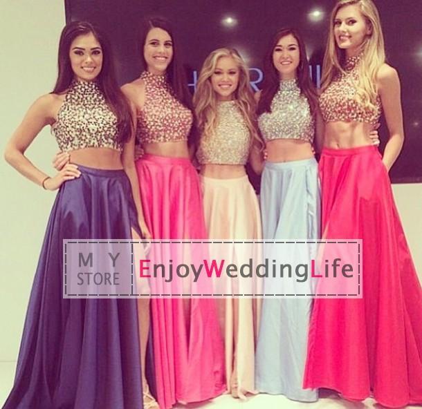 Cheap Prom Dresses - Discount High Neck Taffeta Prom Dresses Beaded ...