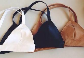 top bra crop bralette crop tops shirt leather top bratop leather triangle swimwear bikini top bikini brown white black